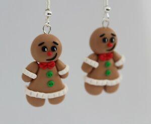 Fun Handmade Fimo Gingerbread Man Earrings Christmas Gift Festive Winter