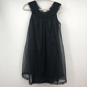 Vintage 1960s Black Chiffon Babydoll Nightgown Dress Elegant Gothic Size XS