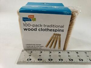 Pack Of 100 Honey Can Do Traditional Round Wood Clothespins