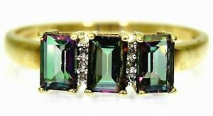 Mystic Topaz Trilogy 9ct Yellow Gold ring size V ~ US 10 3/4