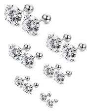 3-8MM Women Men Silver Stainless Steel White Round Cubic Zirconia Stud Earrings