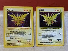 Pokemon Zapdos x2 15/62 Foil Edition Played Nice Holo Rare ERROR Fossil Misprint