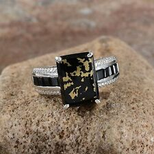 GOLDENITE 6.10CT, THAI BLACK SPINEL RING SET IN PLATINUM / STERLING SILVER SZ 9