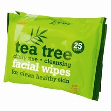 2 PACK OF 25 x TEA TREE FACIAL WIPES DAILY USE FOR HEALTHY SKIN REMOVE MAKEUP