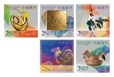 China Macau 2017 New Year of Rooster Cock Zodiac stamp set of 5  雞年 MNH