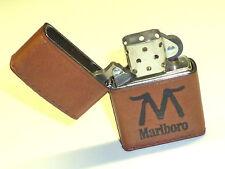 """MARLBORO """"M"""" ZIPPO LIGHTER - FULL LEATHER WRAPPED - NEVER STRUCK - 1994 - RARE"""