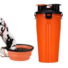 2 IN 1 Portable Travel Pet Dog Food Container Water Bottle Bowl Foldable Puppy