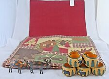 (4) HOME STUDIO WOODLAND Placemats and (9) Napkin Rings *RARE* EXCELLENT!!