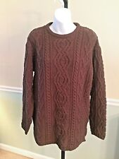 QVC Arancrafts Ireland Merino Wool Chocolate Brown Sweater NWT! Medium