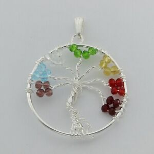 Wired TREE OF LIFE with Czech Glas Beads - Silver Plated #p130