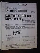 Pioneer dex-p98r p78 service manual Original Repair car cd player compact disc