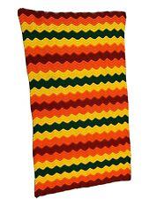 "Vintage Retro 70's Handmade Knit Crochet Afghan 40x69"" Classic Chevron Pattern"
