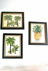 Framed Wall Picture Prints Green Palm Tree Leave Pineapple Cream and Gold Black