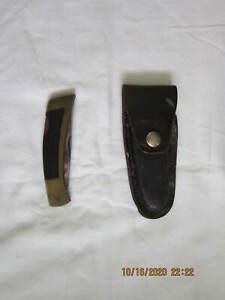 Vintage Gerber Portland OR 97223, USA Pocket Folding Knife Lockback leather case