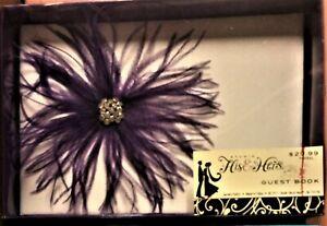 "NIB Studio His & Hers Wedding Guest Book, Purple on White, 10""W"