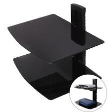 2 Tier/Set Tempered Glass Adjustable Floating Shelves TV DVD Player Game Sky Box