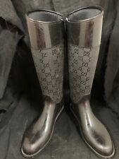 GUCCI GG Black Rubber Flat Rain Boots Size 35 (US 5.5)