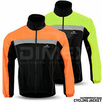 Mens Cycling Jacket Hi Visibility Waterproof Running Top Rain Coat S to 2XL