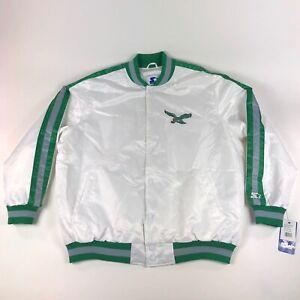 Philadelphia Eagles NFL Starter Mens 3XL Retro 90s White Satin Jacket Coat VTG