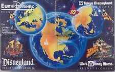 1993 Disney Resorts 4 Phone Card Set Disneyland Disney World Euro Tokyo Unused