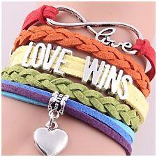LGBT/LGTBQ leatherette LOVE WINS bracelet 🏳️🌈