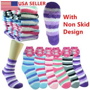 6 Pairs Non-Skid Cozy Fuzzy Super Soft Winter Stripe Solid Slipper Socks 9-11