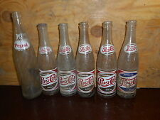 VINTAGE PEPSI COLA BOTTLES LOT of 6 Advertising Collectible 1 is double dot