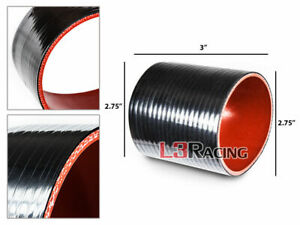 """BLACK 2.75"""" 70mm 3-ply Silicone Coupler Hose Turbo Intake Intercooler FOR BMW"""