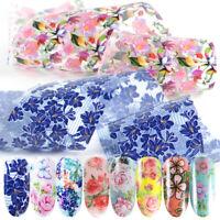 10pcs Nail Foil Stickers DIY For Nails Flowers Art Film Floral Nail Manicures