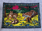 Vtg Bengal Tigers & Cubs 100% Cotton Velvet Tapestry Wall Hanging Made in Turkey