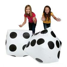 2 X INFLATABLE BLOW UP CUBE DICE CASINO POKER DECORATIONS POOL BEACH TOY 32CM