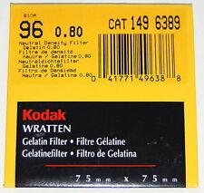 Kodak Wratten 96 N.D. 0.80 Gelatin 75mm Neutral Density ND .80 Filter NEW UNOPEN