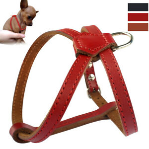 PU Leather Small Dog Harness Adjustable for Pet Puppy Chihuahua Red Black Brown