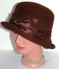 Vtg 40s 50s Brown Wool Cloche Bucket Tilt Dress Hat Satin Bow by Glamour Felts