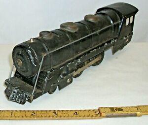 MARX BLACK STEEL STEAM LOCOMOTIVE 2-4-0 ELECTRIC TRAIN ENGINE 1950s LIGHTED