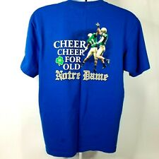 Adidas Notre Dame Football Tee Shirt 2011 Graphics on Front & Back Blue Size Lg