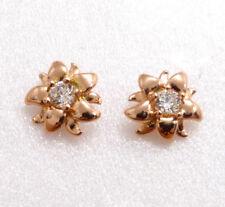 Women Lady New Studs Earrings Rose Gold Plated Simulated Diamond Flower Xmas UK