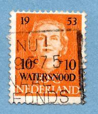NETHERLANDS stamp 1953 flood relief fund. Surch 10c+10c WATERSNOOD