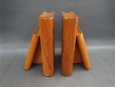 Pair of vintage wooden Betula bookends - in the shape of books