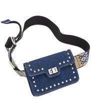 Steve Madden Women's Embroidered Guitar Strap Belt Bag, Denim, M/L (A16-04)