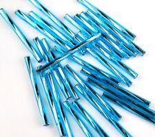 100pcs Czech Twisted Silver Lined Aqua Blue  Bugle Loose Glass Spacer Beads 30mm