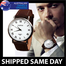 YAZOLE CLASSIC MENS FASHION DRESS WATCH Faux Leather Strap Band Army Military 44