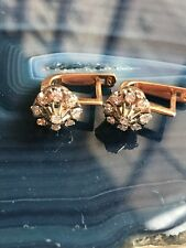 Russian Vintage Rose Gold Classic Style 0.54 ct Diamond Little Earring 14k 583