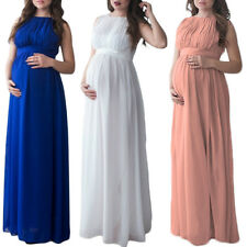 Solid Sleeveless Maxi Maternity Dress