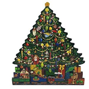 Traditions Byers' Choice Wooden Tall Christmas Tree Advent Calendar with Doors