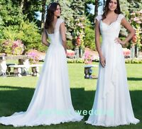 White/Ivory Lace/Chiffon Wedding Dress Bridal Gown size 4.6.8.10.12.14.16.18