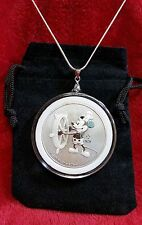 Mickey Mouse Steamboat Willie Pendant 1oz. .999 Pure Silver + Necklace/Gift Bag