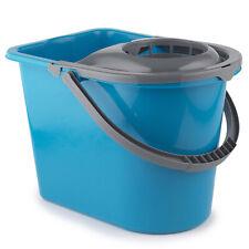 More details for large mop bucket with mop wringer, 14 litre, turquoise, wet floor cleaner dlux