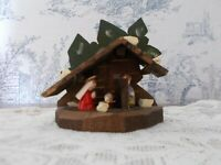 Vtg Minature Wooden Nativity Hand Carved Hand Painted Cute Faces