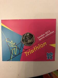 Triathlon Olympic 50p Uncirculated/Royal Mint carded BU